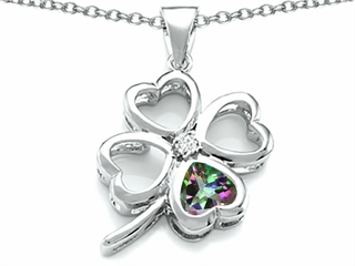 Celtic Love By Kelly(tm) Large 7mm Heart Shape Rainbow Mystic Topaz Lucky Clover Heart Pendant