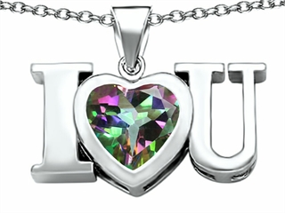 Original Star K(tm) 8mm Heart Shape Rainbow Mystic Topaz I Love You Heart Pendant