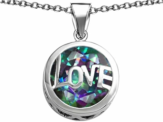 Original Star K(tm) Large Love Round Pendant with 15mm Round Rainbow Mystic Topaz