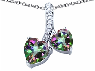 Original Star K(tm) 8mm and 7mm Heart Shape Rainbow Mystic Topaz Double Hearts Pendant