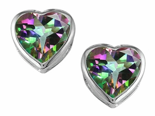 Original Star K(tm) 7mm Heart Shape Rainbow Mystic Topaz Heart Earring Studs
