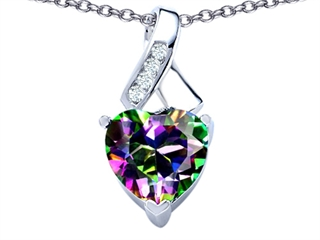 Original Star K(tm) 8mm Heart Shape Rainbow Mystic Topaz Ribbon Pendant