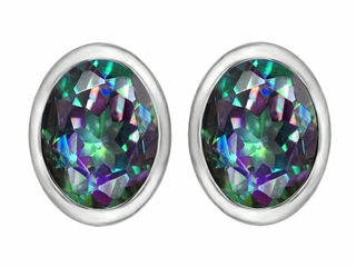 Original Star K(tm) 8x6mm Oval Mystic Rainbow Topaz Earring Studs
