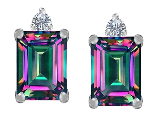 Original Star K(tm) 8x6mm Emerald Octagon Cut Rainbow Mystic Topaz Earring Studs