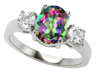 Original Star K(tm) 9x7mm Oval Rainbow Mystic Topaz Engagement Ring