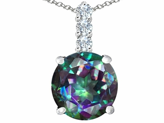 Original Star K(tm) Large 12mm Round Rainbow Mystic Topaz Pendant