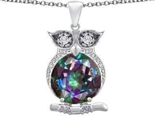 Original Star K(tm) Large 10mm Round Rainbow Mystic Topaz Good Luck Owl Pendant