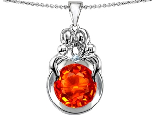 Original Star K(tm) Large Loving Mother And Family Pendant With Round 10mm Simulated Orange Mexican Fire Opal