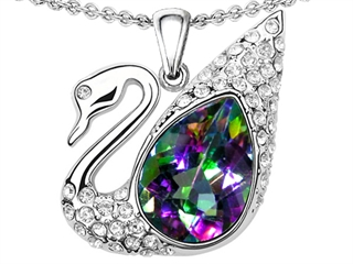 Original Star K(tm) Love Swan Pendant With Pear Shape Rainbow Mystic Topaz