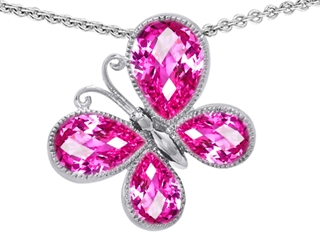 Original Star K(tm) Butterfly with Pear Shape Created Pink Sapphire Pendant