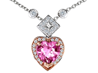 Original Star K(tm) Two Toned Heart Shape Created Pink Sapphire Necklace