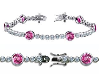 Original Star K(tm) High End Tennis Bracelet With 6pcs Round 6mm Simulated Pink Tourmaline