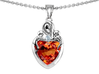 Original Star K(tm) Loving Mother with Twins Children Pendant With 8mm Heart Simulated Orange Mexican Fire Opal