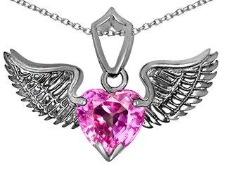 Original Star K(tm) Wing of Love Pendant with 8mm Heart Shape Created Pink Sapphire