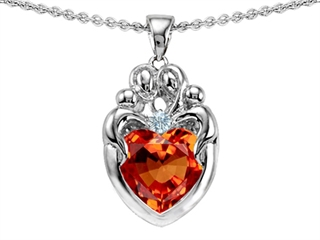 Original Star K(tm) Loving Mother Twins Family Pendant With 8mm Heart Shape Simulated Orange Mexican Fire Opal