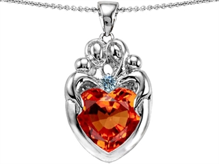 Original Star K(tm) Large Loving Mother Twins Family Pendant With 12mm Heart Simulated Orange Mexican Fire Opal