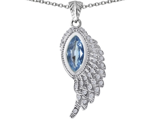 Original Star K(tm) Angel Wing Pendant with Marquise Shape Simulated Aquamarine