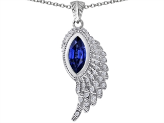 Original Star K(tm) Angel Wing Pendant with Marquise Shape Simulated Sapphire