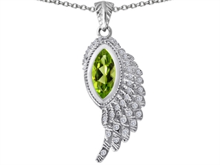 Original Star K(tm) Angel Wing Pendant with Marquise Shape Simulated Peridot