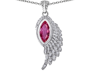 Original Star K(tm) Angel Wing Pendant with Marquise Shape Created Pink Sapphire