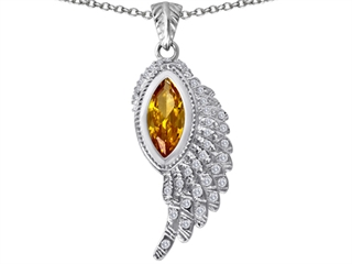 Original Star K(tm) Angel Wing Pendant with Marquise Shape Simulated Imperial Yellow Topaz