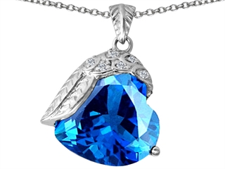 Original Star K(tm) Angel Wing of Love Pendant with Heart Shape Simulated Blue Topaz