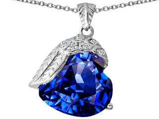 Original Star K(tm) Angel Wing of Love Pendant with Heart Shape Simulated Sapphire