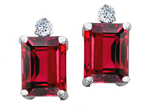 Tommaso design Studio 3.04 cttw Tommaso Design Emerald Cut 8x6mm Created Ruby and Genuine Diamond Earring Studs in 14k White Gold at Sears.com