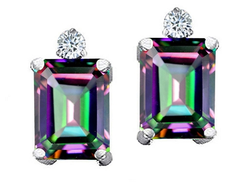 Tommaso design Studio 3.54 cttw Tommaso Design Emerald Cut Rainbow Mystic Topaz and Genuine Diamond Earring Studs in 14k White Gold at Sears.com