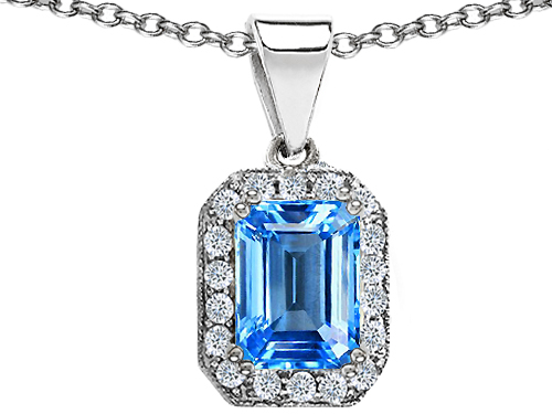 Star K 3.63 cttw Original Star K Genuine Emerald Cut Blue Topaz Pendant LIFETIME WARRANTY at Sears.com
