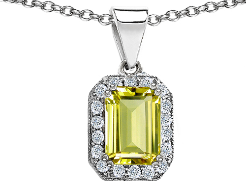 Star K 3.63 cttw Original Star K Genuine Emerald Cut Lemon Quartz Pendant at Sears.com