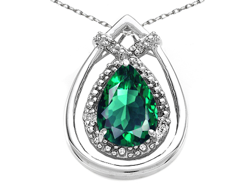 Tommaso design Studio 0.92 cttw Tommaso Design Pear Shape 8x6mm Simulated Emerald And Diamond Pendant in 14k White Gold at Sears.com