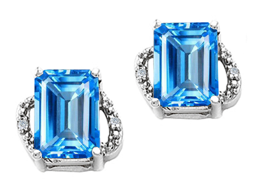 Tommaso design Studio 3.02 cttw Tommaso Design Emerald Cut 8x6mm Genuine Blue Topaz and Diamond Earrings in 14k White Gold at Sears.com