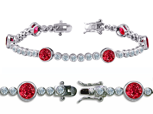 Star K 11.50 cttw Original Star K High End Tennis Bracelet With 6pcs 6mm Round Created Ruby