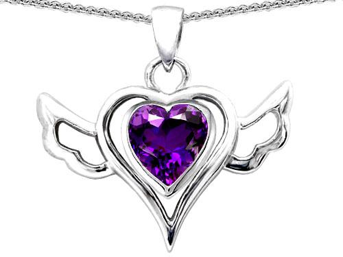 Star K 0.80 cttw Original Star K Wings Of Love Pendant with Heart Genuine Amethyst