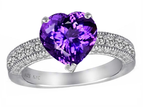 Original Star K(tm) 8mm Heart Shape Simulated Amethyst Engagement Ring