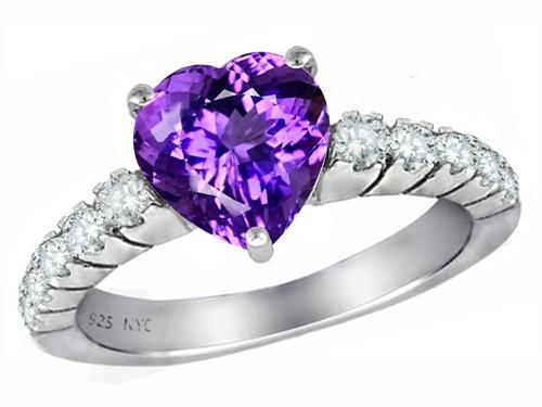 Original Star K(tm) 8mm Heart Shape Simulated Amethyst Engagement Ring