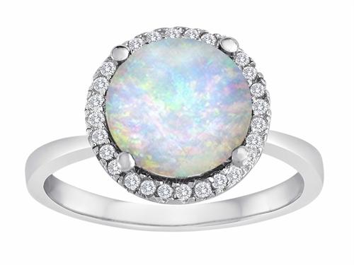 Original Star K(tm) Round Simulated Opal Halo Engagement Ring