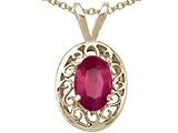 Tommaso Design™ Oval Genuine Ruby Pendant style: 21017