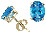 Tommaso Design™ Oval 8x6 mm Genuine Blue Topaz Earrings Studs style: 21100