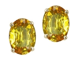 Tommaso Design Oval Genuine Citrine Earring Studs