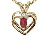 Tommaso Design Genuine Ruby and Diamond Heart Pendant