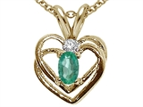 Tommaso Design™ Oval 5x3mm Genuine Emerald and Diamond Heart Pendant