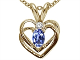 Tommaso Design™ Oval 5x3mm Genuine Tanzanite and Diamond Heart Pendant