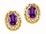 Tommaso Design™ Oval 6x4mm Genuine Amethyst Earrings