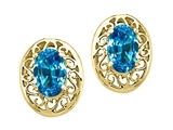 Tommaso Design Oval 6x4mm Genuine Blue Topaz Earrings