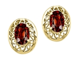 Tommaso Design Oval 6x4mm Genuine Garnet Earrings