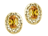 Tommaso Design Oval 6x4mm Genuine Citrine Earrings