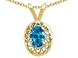 Tommaso Design Genuine Blue Topaz Oval 6x4mm Pendant