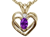 Tommaso Design™ Oval 5x3mm Genuine Amethyst and Diamond Heart Pendant